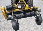 "Harley Rake, Tractor PTO Power Box Rake TM-5 series, 60"" working width Free Shipping from Everything Attachments, Harley Rakes by Glenmac, Made in USA, adjustable barrier determines the size of material that passes, angle 15 degrees, Landscape Rake online"