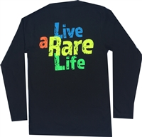 Ladies Long sleeve V Neck with Live a Rare Life yellow