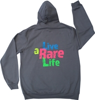 Grey Hooded Sweatshirt with Live a Rare Life logo