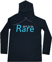 Long Sleeve Light Weight Hoodie with teal dare to be Rare logo