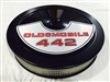 Black Air Cleaner Performance White Filter 14 x 3 w/ Olds 442 Decal