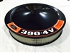 Black Air Cleaner Performance White Filter 14 x 3 w/ Ford 390-4V Premium Fuel Decal
