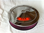 Chrome Air Cleaner Red Washable Filter 14 x 3 w/ Ford 302 Decal