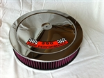 Chrome Air Cleaner Red Washable Filter 14 x 3 w/ Ford 390 HP Decal