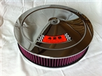 Chrome Air Cleaner Red Washable Filter 14 x 3 w/ Ford 428 Decal