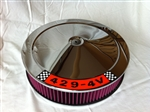 Chrome Air Cleaner Red Washable Filter 14 x 3 w/ Ford 429 Decal
