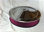 "Chrome Air Cleaner Red Washable Filter 14 x 3 ""Muscle"" Style"