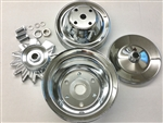 SB Chevy SBC Chrome Steel 2 Groove Long Water Pump Pulley Kit 1969 - 86 327 350