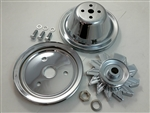 SB Chevy Chrome SBC SWP 1 Groove Pulley Kit W/ Alternator Pulley 283 327 350