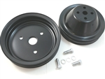 SB Chevy SBC Short Pump Black Steel 2 Groove Pulley Kit W/ Bolts 283 327 350 V8