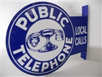 Public Telephone Double Sided Tin Sign