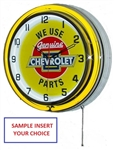 "Double Neon Clock 18"" Yellow / White"