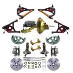 Deluxe Suspension Brake Kit Smooth Rotors Tubular A Arm w Brake Booster GM A Body