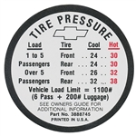1966 Chevelle Tire Pressure Decal