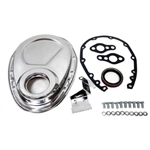 Chrome Steel Timing Cover SB Chevy 283-350 KIT w/Bolts & Gaskets