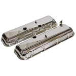 67-74 Corvette BB Valve Covers Chrome with Drippers Non-Slant Corner