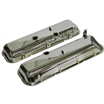 67-74 Corvette BB Valve Covers Chrome with Drippers Slant Corner