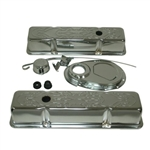 SB Chevy Chrome Engine Dress Up Kit 283-400 Stock Height Flame