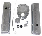 SB Chevy Chrome Engine Dress Up Kit 283-400 Tall Height Flame