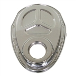 Chrome Steel Timing Cover SB Chevy 283-350