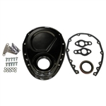 Black Steel Timing Cover SB Chevy 283-350 KIT w/Bolts & Gaskets