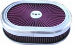 "Aluminum Power Flow 12"" Air Cleaner Washable Filter & Top"