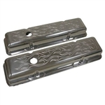Aluminum Valve Covers SB Chevy 283-400 Tall Flame