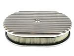 "Aluminum Finned 12"" Oval Air Cleaner Set Retro Look"