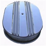"Aluminum Finned 12"" Oval Air Cleaner Set Nostalgic ""Moon"" Style"
