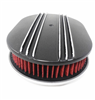 "Black Aluminum Finned 12"" Oval Air Cleaner Set Washable Half Fin"