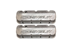 BB Chevy Aluminum Valve Covers w/ Chevrolet Logo TAll Polished