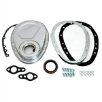 Chrome Steel Timing Cover SB Chevy 283-350 2-Piece Kit