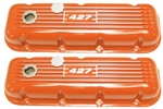 BB Chevy Aluminum Valve Covers w/ 427 Logo TAll Orange