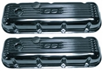 BB Chevy Aluminum Valve Covers w/ SS Logo TAll Polished