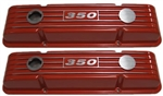 SB Chevy Aluminum Valve Covers w/ 350 Logo TAll Orange