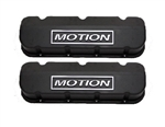 BB Chevy Aluminum Valve Covers w/ Baldwin Motion Logo TAll Black