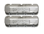 BB Chevy Aluminum Valve Covers w/ Baldwin Motion Logo TAll Polished