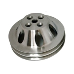 Upper Aluminum Pulley Double Groove BB Chevy Short Water Pump Satin Finish