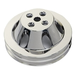 Upper Aluminum Pulley Double Groove BB Chevy Short Water Pump Polished Finish