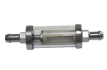 "Chrome / Glass Fuel Filter 5/16"" Inlet / Outlet"