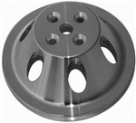 Upper Aluminum Pulley Single Groove SB Chevy Short Water Pump Satin Finish