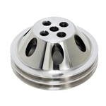 Upper Aluminum Pulley Double Groove SB Chevy Short Water Pump Satin Finish