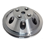 Upper Aluminum Pulley Single Groove SB Chevy Long Water Pump Polished Finish