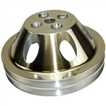 Upper Aluminum Pulley Double Groove SB Chevy Long Water Pump Polished Finish