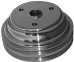 Lower Aluminum Pulley Double Groove SB Chevy Long Water Pump Polished Finish