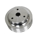 Lower Aluminum Pulley Triple Groove SB Chevy Long Water Pump Satin Finish