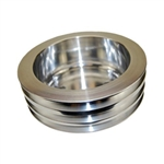 Lower Aluminum Pulley Triple Groove SB Chevy Long Water Pump Polished Finish
