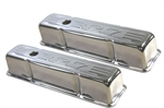 Chrome Valve Covers Tall SB Chevy 327 Logo