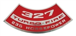 Air Cleaner Decal SB Chevy 327 / 235 HP