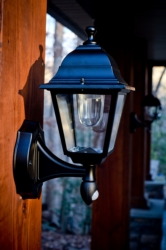 Exterior Decorative Lights: Black Battery-Powered Motion-Activated LED Sconce